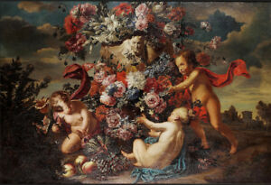 high-quality-oil-painting-034-Putti-decorating-a-carved-stone-urn-034-N10954