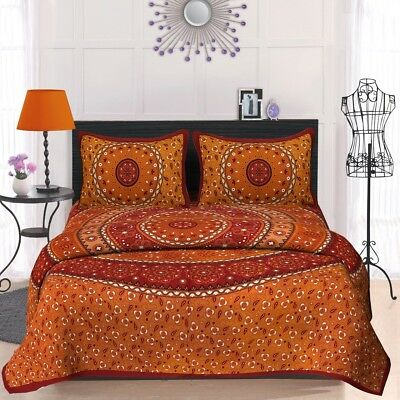 Multi Floral Indian Handmade Cotton King Size Bedsheet With Tow Pillow Cover