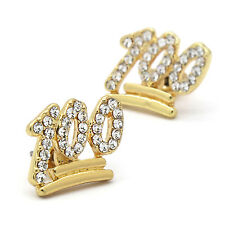 Men's 14k Gold Plated Iced Out emoji 100 Clear Cz 11mm x 15mm Hip Hop Earrings