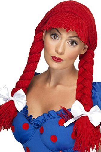 Rag Doll Wig, Red, Pigtails with a Fringe and Bows COST-ACC NEW