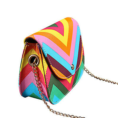 Fashion Women Handbags Shoulder Bags Messenger Bag Chain Rainbow Stripes Leather