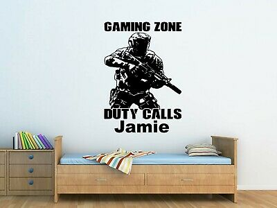 Bambini Personalizzata Call Of Duty Soldato Esercito Wall Art Adesivo Camera Da Letto, Ragazzi-