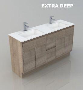 MELBOURNE 1500 DOUBLE EXTRA DEEP BATHROOM VANITY STONE TOP ...