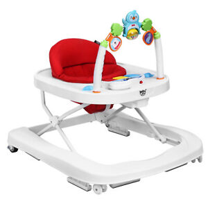 2-in-1 Foldable Baby Walker w/ Adjustable Heights & Detachable Tray Home Red