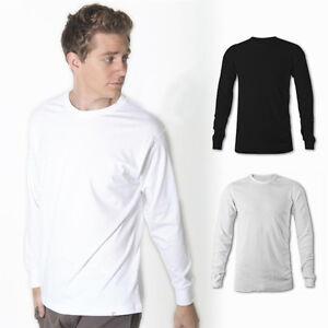 Mens-Plain-Longsleeve-T-Shirt-100-Cotton-Long-Sleeve-Blank-Basic-Adults-Tee