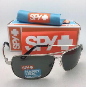 553c4934d92 Image is loading Polarized-SPY-OPTIC-Sunglasses-LEO-Silver-Aviator-Frame-