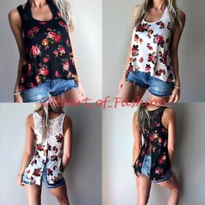 Boho-Floral-Print-Relaxed-Flowy-Split-Back-Lace-Sleeveless-Knit-Summer-Tank-Top