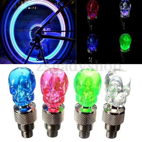 Halloween LED Skull Bike Bicycle Car Motorcycle Light Valve Cap Tyre + Batteries