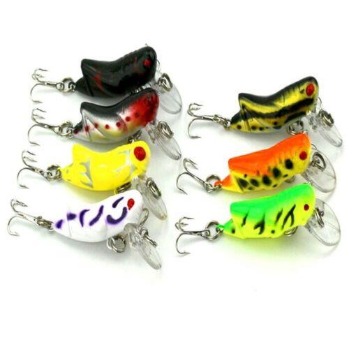 Lot 7PCS Lifelike Locust Fishing Lure Swimming Bait Crank Hook Bass 4.51cm Good.