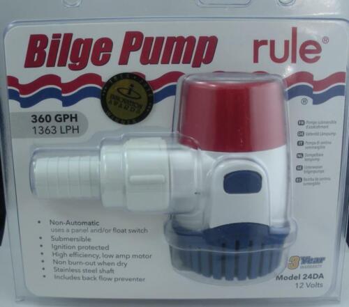 Rule 24DA Bilge Pump 360 GPH 12 Volt 25727