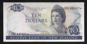 New-Zealand-P-166d-1977-81-10-Dollar-STAR-Note-Hardie-99C-Prefix-gEF-aU