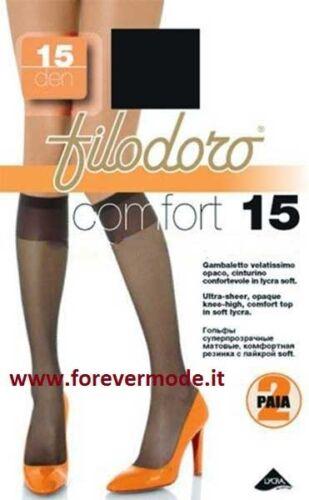 Komfort 6 Paare Kniestrümpfe Frau Filodoro 15DEN mit Manschette Ultra Weich Art
