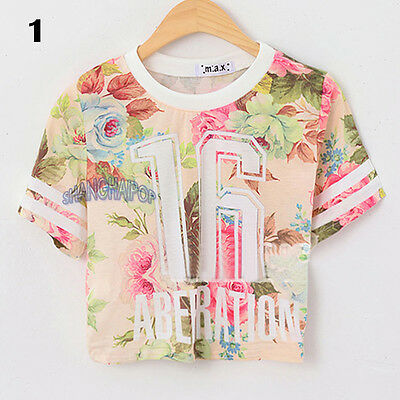 Women Floral Crop T-shirt Flower Number Short Sleeve Crew Neck Tee Top Fashion