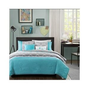 Teal Blue Full Queen Comforter Aqua Gray Bed Set Blanket