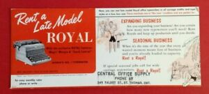 Vintage-Blotter-034-Rent-A-Late-Model-Royal-034-Central-Office-Supply-St-Thomas-Ont