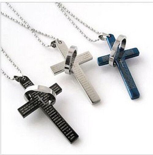 A la Mode Hommes Chaîne croix d'acier inoxydable Anneau chaud collier pendentif