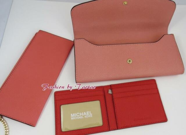 d685a72e39bf Michael Kors Large Bicolor Saffiano Leather 3 in 1 Wallet Pch/pgrp ...