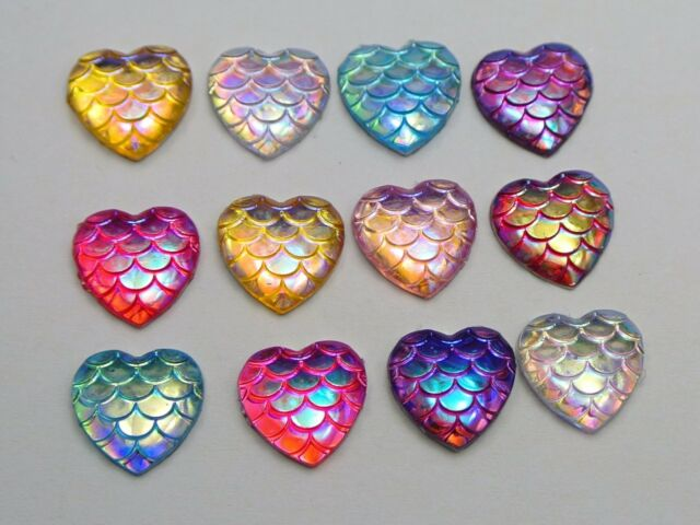 100 Mixed Colour AB Flatback Resin Fish Scale Pattern Heart Cabochon 12mm