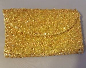 Beaded Sequins Gold Hong Clutch Vintage Kong And Handbag Made In Purse Small 1lcK3FTJ