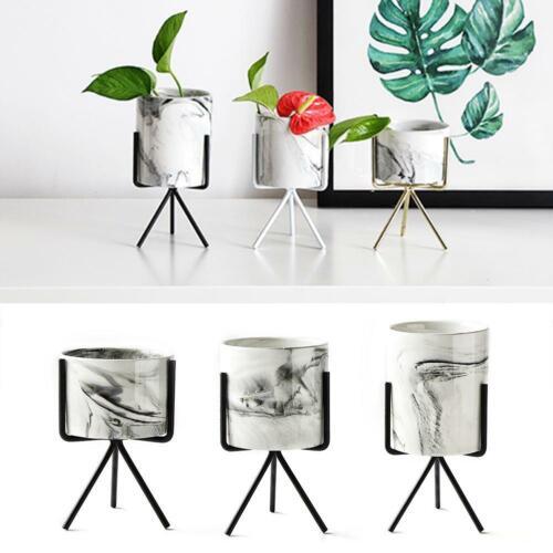 Iron Plant Vase Stand Planter Holder Marble Ceramic Flower Pot Shelf Rack Garden
