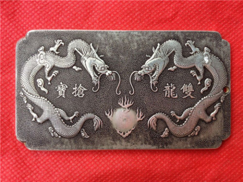 Chinese Old Ssangyong looting treasure tibet Silver Bullion statue thanka