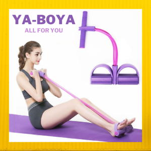 Home Gym 4 Resistanc Elastic Pull Ropes Exerciser Rower Belly Resistance Band