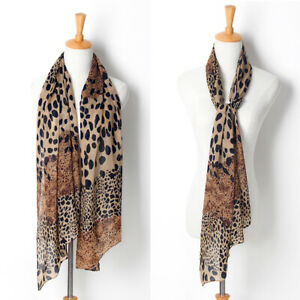 Ladies Womens Leopard Print Long Wrap Scarf Chiffon Shawl Large Stole Scarves UK