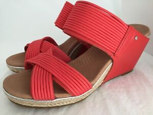 cdde0f6078d Details about UGG Hilarie Red Leather Mignon Strap Wedge Sandals Women's  Size 9