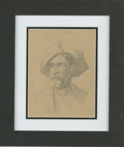 Mid 19th Century Graphite Drawing - 15th Century Male