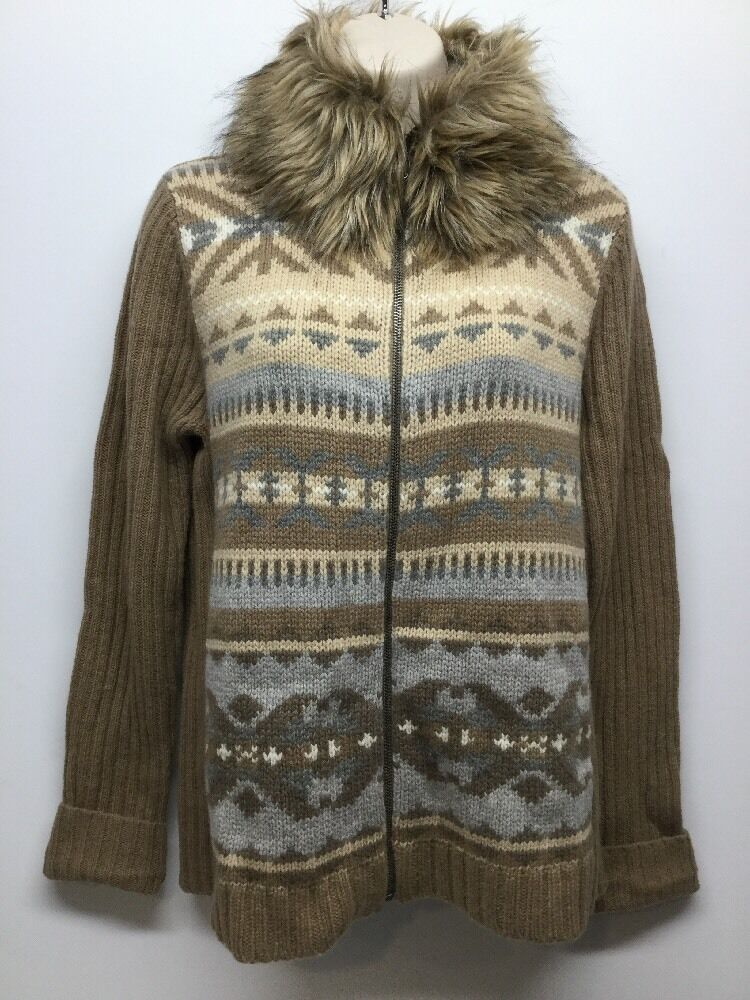 NWT WOMEN RALPH LAUREN FAUX FUR REMOVABLE COLLAR SWEATER SIZE LARGE