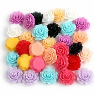 50x Assorted Colors Size Resin Rose Flower Flatback Cabochons Embellishments