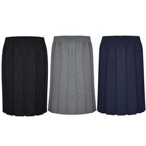 Girls-Ladies-Womens-Skirt-School-Office-Uniform-Box-Pleated-Elasticated-waist