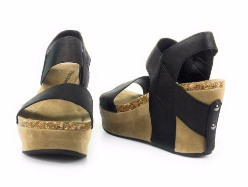 Women Pierre Dumas Hester 1 Black Wedge Sandals Open Toe Elastic Strap Hester-1