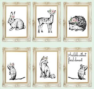 Nursery-Wall-Art-Print-Boho-Woodland-Animals-Fox-Grey-Floral-Baby-3FOR2