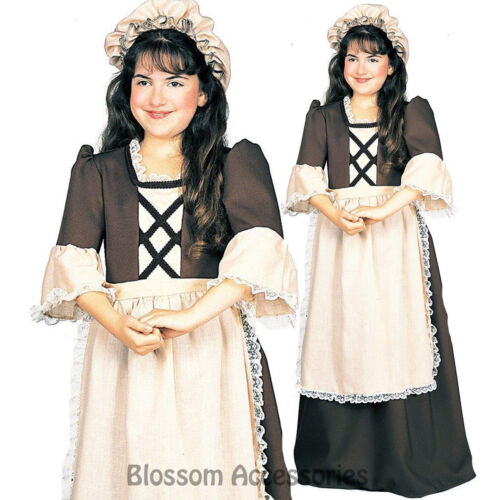 CK397 Colonial Girl Child Costume Fancy Dress Pilgrim Historical Pioneer Dress