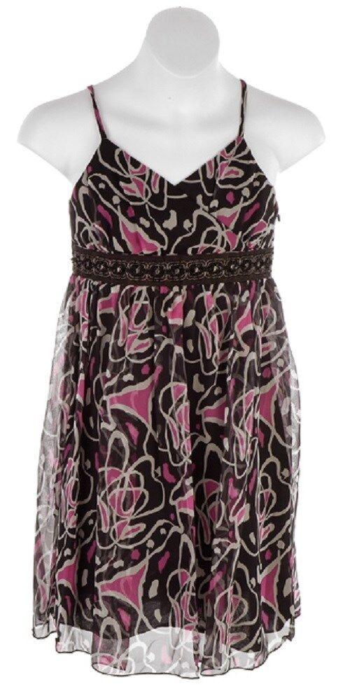 Pirouette Los Angeles Girls JANICE Black Pink Print Silk Chiffon Lined Dress 16