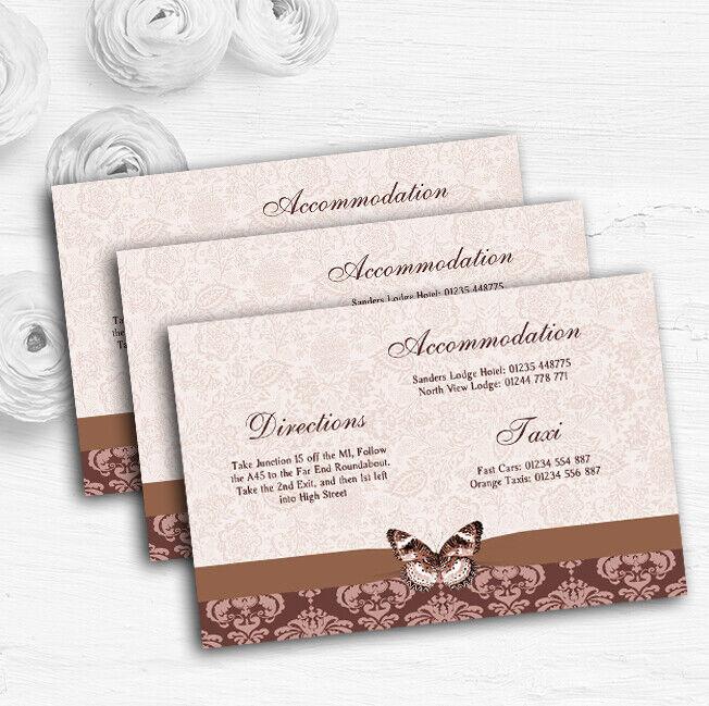 braun Fawn Beige Vintage Floral Damask Butterfly Wedding Guest Information Cards