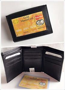 Black-New-Mens-Trifold-Lamb-Leather-Wallet-Multi-Pockets-Card-ID-Window