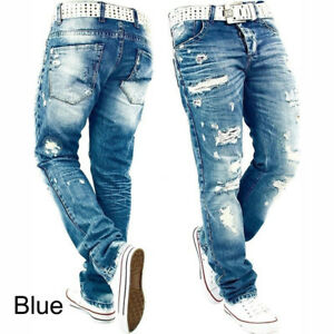 Mens-Straight-Leg-Jeans-Pants-Holes-Ripped-Skinny-Distressed-Destroyed-Slim-Fit