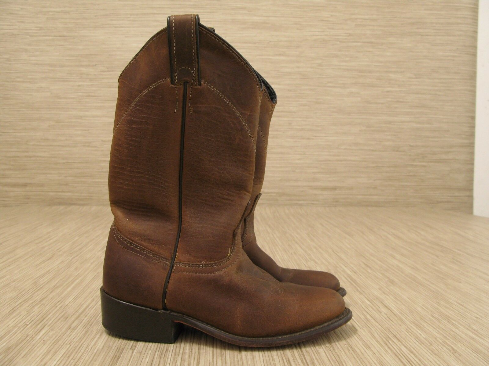 Laredo Brown Leather Cowboy Boots Women's Size US 5 M Slip-On Made in the USA