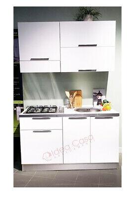 Cucina Emy 140 Cm Completa Di Piano Cottura Cappa Lavello Tutto Incluso Bianca Ebay