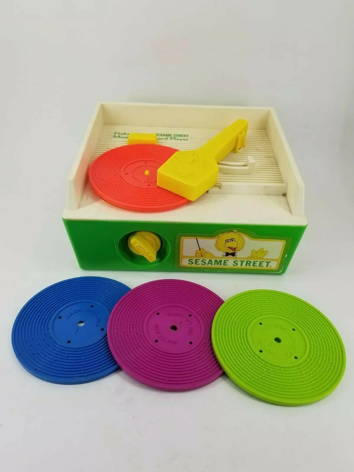 Vintage 1984 Fisher Price SESAME STREET Phonograph Music 4 Records WORKS