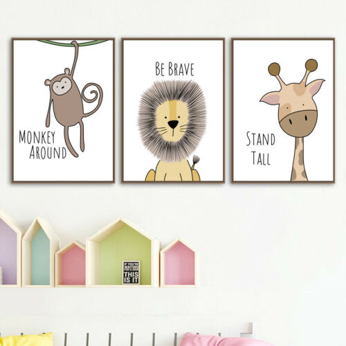 Nordic Cartoon Animal Canvas Poster Kids Room Hanging Wall Art Painting Decor