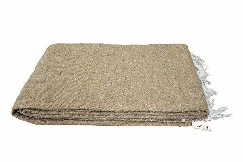 Thick Yoga Blanket Tan Beige Brown Mexican Blanket Large Bolster Prop Serape