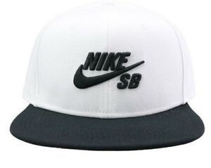 dde1a61981453 NEW NIKE SB SNAPBACK HAT WHITE BLACK 3-D EMBROIDERY ORIGINAL 628683 ...
