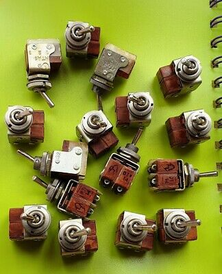 NOS 4x Mini Toggle Switch SPDT On-On Silver Bakelite Military USSR MT-1