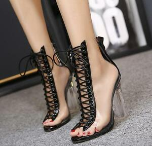 Womens-Open-Toe-Lace-Up-Transparent-Back-Zip-Shoes-High-Heel-Crystal-Shoes-Boots