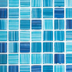Mosaico piastrella vetro miscela blu muro cucina bagno 64 0409 b 1 foglio ebay - Mosaico vetro bagno ...