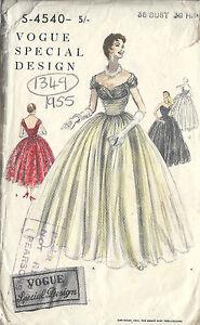 f06eae3e3471 Image is loading 1954-Vintage-VOGUE-Sewing-Pattern-B36-DRESS-1349