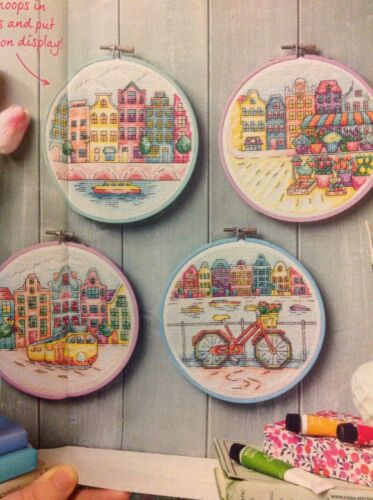 Dutch Amsterdam Water City Scenes Flowers Bicycle Boat Cross Stitch Chart C